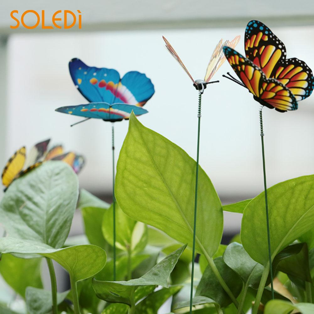 SOLEDI 15PCS/Lot 3D Artificial Butterfly Garden Decorations Simulation Butterfly Stakes Yard Plant Lawn Decor Fake Random Color