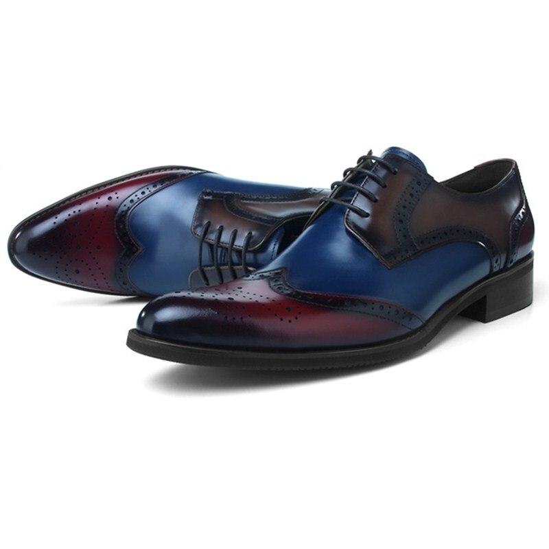 Fashion Black / Blue Brogue Dress Shoes Genuine Leather Business Shoes Male Social Shoes