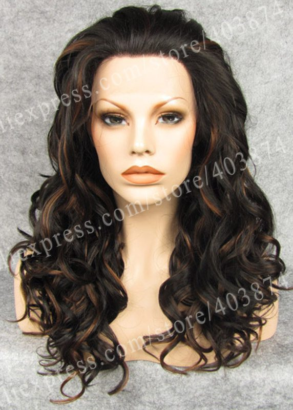 ФОТО Superior Quality Brown Mixed Blonde Heat Resistant Wig Long Body Wavy Synthetic Lace Wig