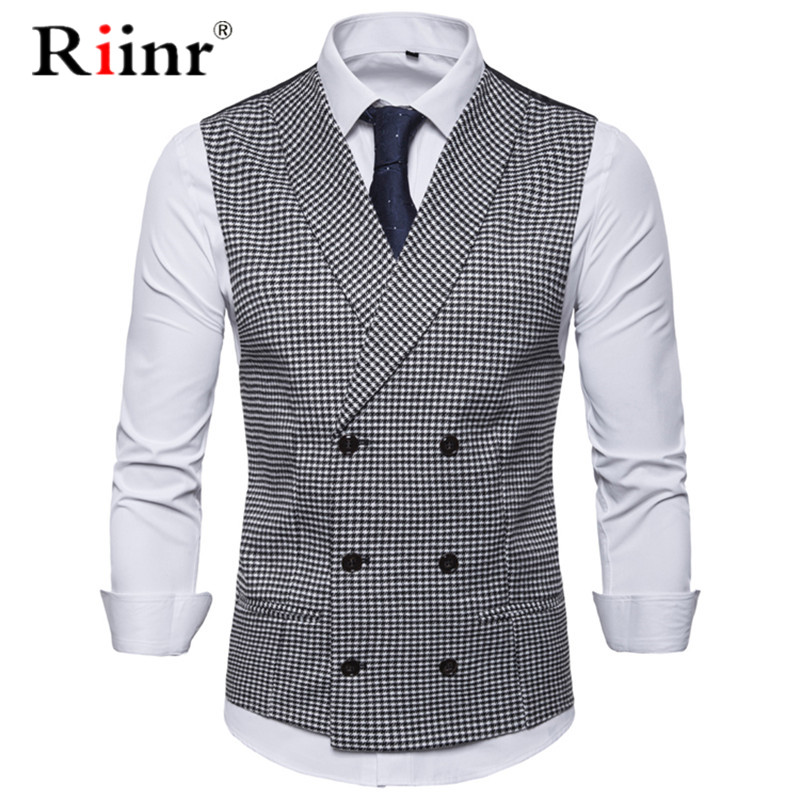 Men Casual Sleeveless Jacket Coat Mens Formal Waistcoats Dress Suit Vest Slim Woolen Plaid Vest British Autumn Suit Vest EUR