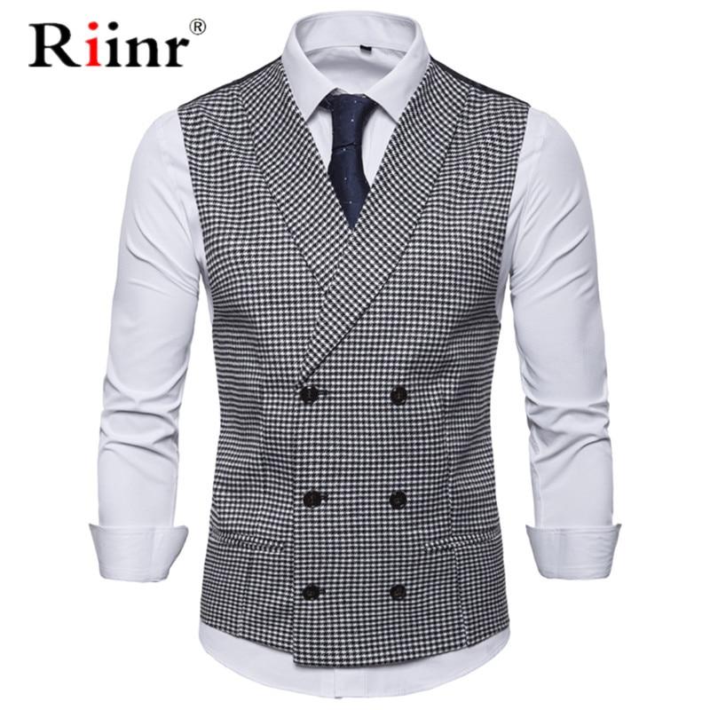Men Casual Sleeveless Jacket Coat Mens Formal Waistcoats Dress Suit Vest Slim Woolen Plaid Vest British Autumn Suit Vest EUR