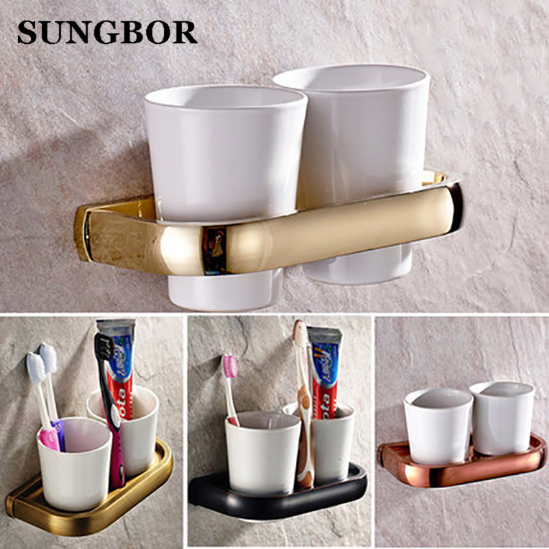 Luxury Golden Brass Bath Hardware Wall Mounted Double Tumbler Holder White Ceramics Toothbrush Cup Bathroom Accessory HY-2202K leyden luxury gold finish blue crystal double cup tumbler holder brass wall mounted toothbrush tumbler holder bathroom accessory