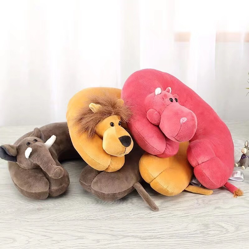 6 Colors Cute Animal U-shaped Neck Proetection Pillow Lion / Elephant / Hippo / Monkey Lovely Travel For Children Baby Care