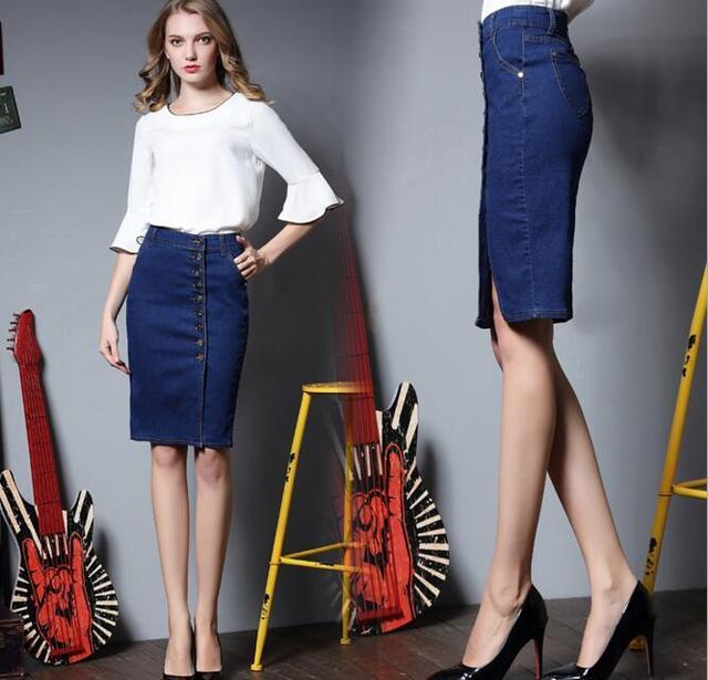 6ba200c7d452 High Waist Single Breasted Denim Pencil Skirt Female Elegant Office Work  Split Knee Length Jeans Skirts