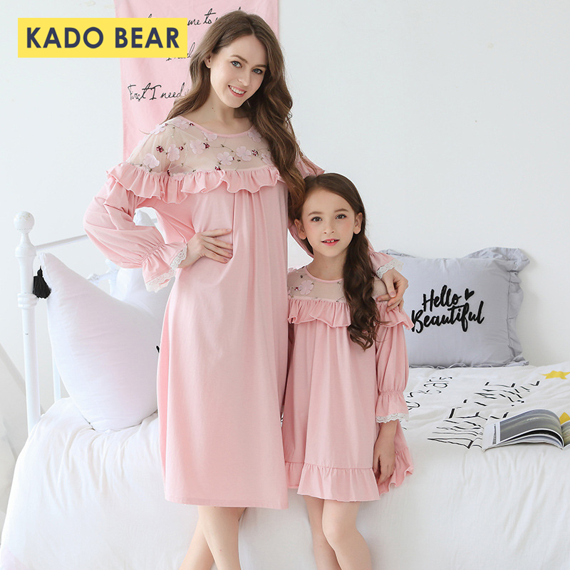 2019 Household Look Child Lady Nightgown Mother Mom Daughter Attire Matching Outfits Children Pajamas Kids Sleepwear Garments Pyjama Matching Household Outfits, Low cost Matching Household Outfits, 2019 Household Look...