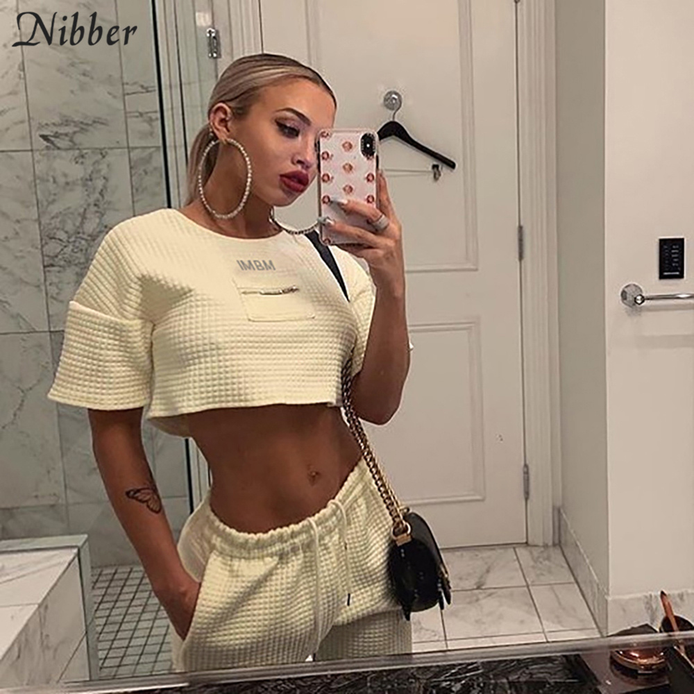 Nibber 2019 Autumn Loose Home Wear Basic Solid Color High Street Casual Crop Tops Women T-shirts Slim Fit Soft Comfortable Tees