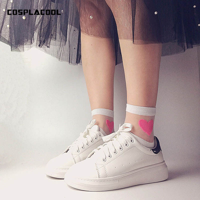 [COSPLACOOL]Sexy Transparent Love Cute Fashion women   socks   comfortable soft heart pattern meias cotton bottom calcetines mujer