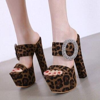 Gladiador Sandalias 7 Cm Zapatillas Leopardo Zapatos Y Señoras Mujeres Verano Plataforma Moda 17 Tacones Strass Altos 8OnPNwX0k