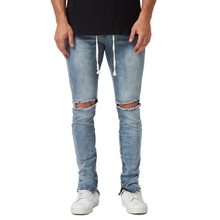 2018 New Men's Stretch Elastic Side Ankle Zipper Ripped Destroyed Hip Hop Skinny Jeans