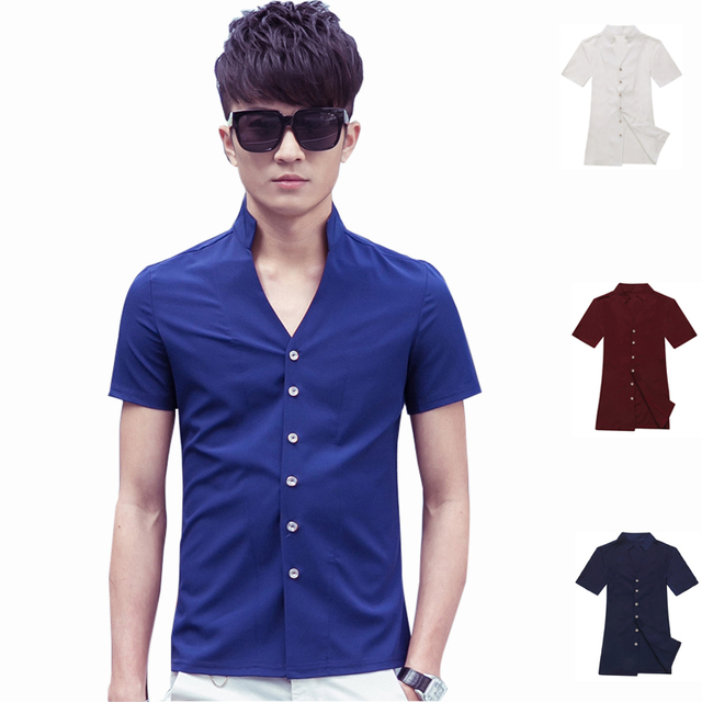 2016 Summer Men'S Luxury Short Sleeve Shirt Solid Color Casual Dress Shirts Male Slim Fit Stylish Clothes Tops  Button Down