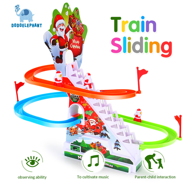 Dodoelephant Santa Train With Musical Light Electric Race Track Sliding Cast Emble Toy For Kids Best Christmas Gifts