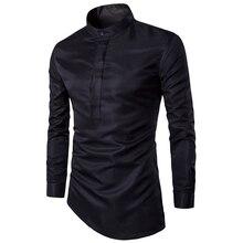 2016 Men's Boutique Long-sleeved Shirt Collar Solid Color Slim Fit Blouse Plaid Shirt Tommis Denim Shirt Brand-clothing
