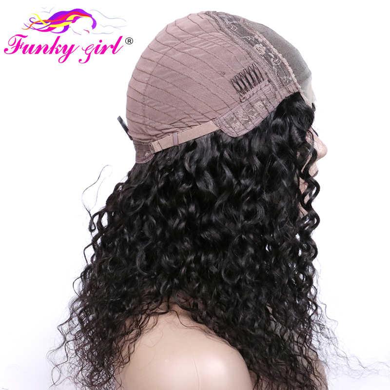 Funky Girl Малайзия волна воды человеческих волос 4*4 парик шнурка с предварительно сорванным для женщин не Реми кружева Закрытие человеческих волос парики 150%