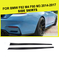 Car Styling Carbon Fiber Side Skirts Apron Lip for BMW F82 F83 M4 Coupe 2 Door F80 M3 Sedan 2014 2017