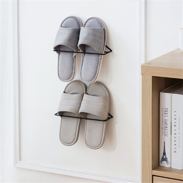 Wall Mounted Shoes Shelves Slipper Entryway Rack Storage Hanging Shoe Organizer Metal Home