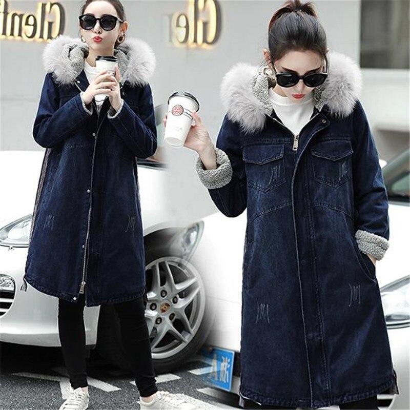 Femelle D'agneau 2018 Femmes Pour Taille Grande Épais Tops Blue Chaud D'hiver Loisirs Capuche Les En Laine Manteau Vestes Longue Denim Jeans À IpBxUw7q