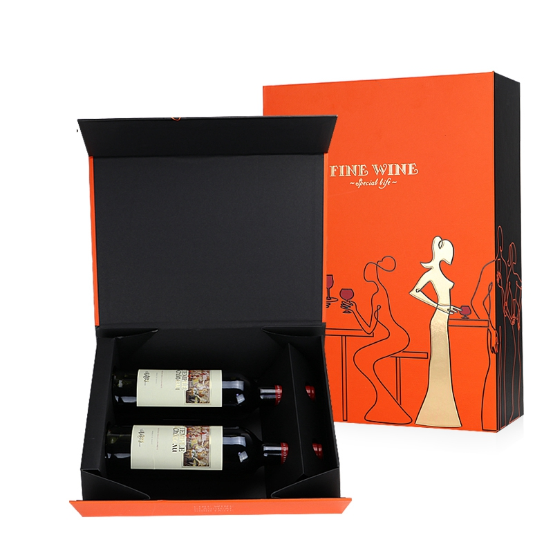 Red Wine Packing Cardboard Paper Box With Magnet Lid Wine Gift Box