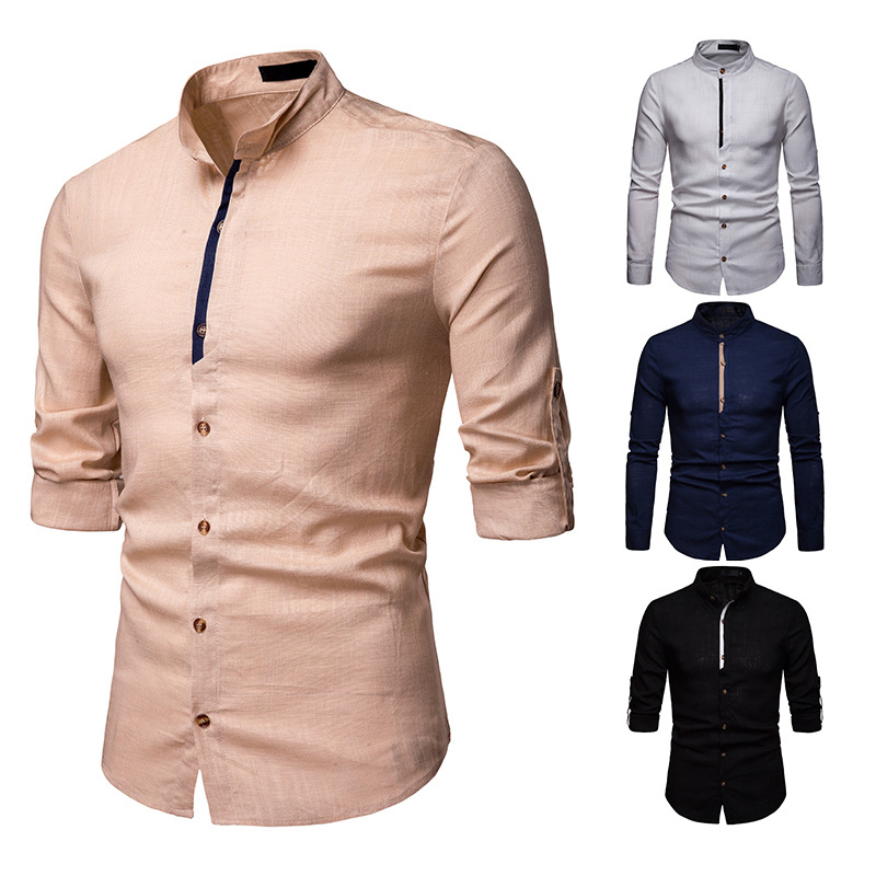 Short Fin Mens Long Sleeve Linen Shirt with Mandarin Style Round Collar