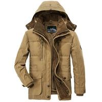 JOOBOX Winter Thicken Warm Hooded Parka men Plus Size 5XL Khaki Army Military Fleece Jacket men Hooded Collar Mens Down Jackets