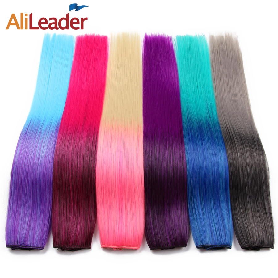 """Alileader Hest Resistant Synthetic Ombre Color 5 Clip In Hair Extension Long Straight 22"""" 56Cm Rainbow Clip In Hair For Girls"""