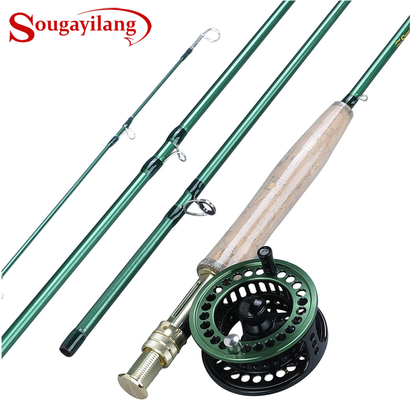 Fly-Fishing-Rod-Set Ultralight Sougayialng Fly-Reel 5/6 And Tackles Carbon-Fiber Pesca