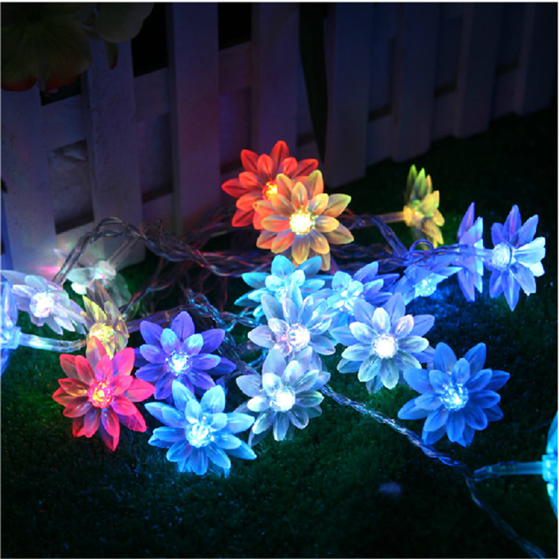 50 Led String Lights Battery Operated Christmas Fairy Lights Warm White  Lotus Flower Decorative Indoor Outdoor Tree Party Patio