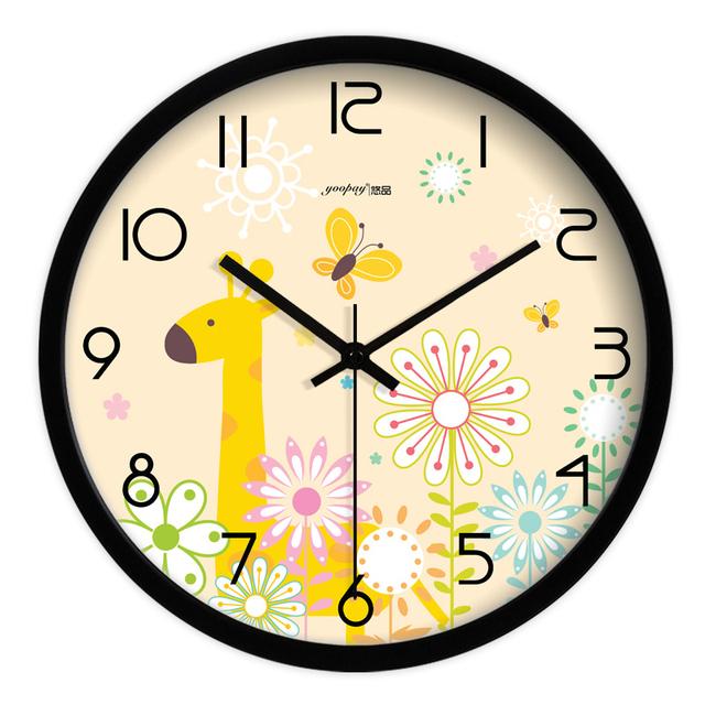 Creative Cartoon Giraffe Living Room Quiet Quartz Wall Clock Home Decoration Bedroom Fashion Creative Wall Clocks