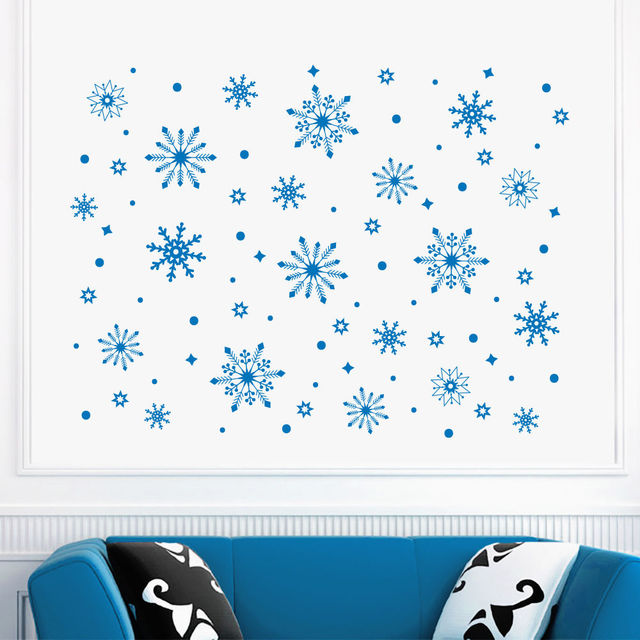 Charming Beautiful Frozen Snowflake Snow Wall Decals Window Decor Home Decorative  Merry Christmas Wall Sticker Y