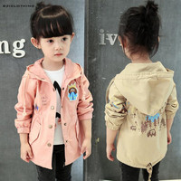 2017 New Arrival Korean Style Baby Girls Coat Children Windbreaker Jacket Kids Cute Outerwear Spring Autumn
