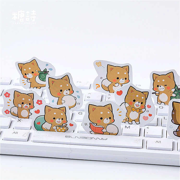 45 PCS/Kotak Kawaii Shiba Alat Tulis Stiker Label Kawaii Diary Buatan Tangan Perekat Kertas Flake Jepang Stiker Scrapbooking