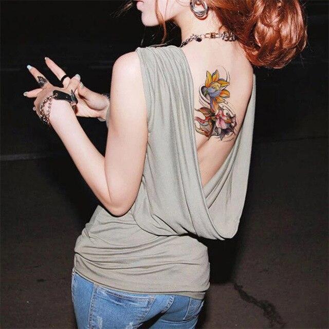 Fałszywy Tatuaż Naklejki Złote Rybki Kolorowe Kwiat Lotosu