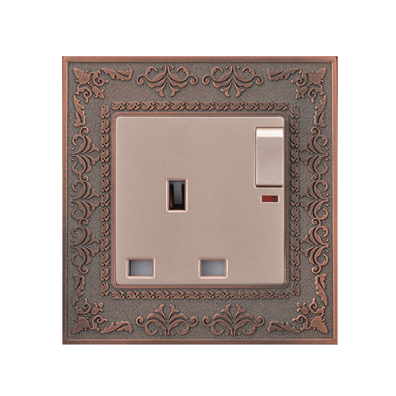COSWALL 13A UK Standard Switched Socket With Neon Luxury Wall Power Outlet Retro Zinc Alloy Embossed Panel uk socket wallpad crystal glass panel 110v 250v switched 13a uk british standard electrical wall socket power outlet uk with led