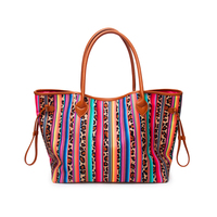 Leopard Stripes Women Handbag Cow Canvas Casual Handbag Serape Women's Tote With Two Strings Free Shipping DOM1068