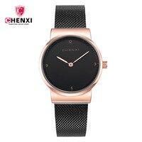 Fashion Simple Lady Watch Luxury Stylish Rose Gold Black Women S Watches Top Brand CHENXI Waterproof
