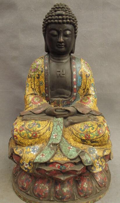 fast shipping USPS to USA S1310 16 Tibet Cloisonne Enamel Bronze Temple Shakyamuni Sakyamuni Buddha Statuefast shipping USPS to USA S1310 16 Tibet Cloisonne Enamel Bronze Temple Shakyamuni Sakyamuni Buddha Statue