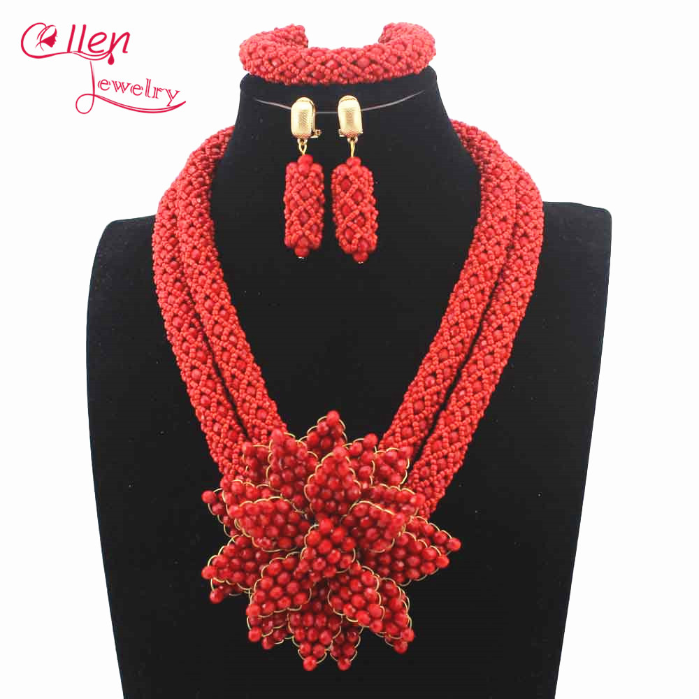 Popular nigerian Wedding Bridal Jewelry Sets Women Red Crystal Costume Necklace African Beads Jewelry Set Free Shipping W13288Popular nigerian Wedding Bridal Jewelry Sets Women Red Crystal Costume Necklace African Beads Jewelry Set Free Shipping W13288