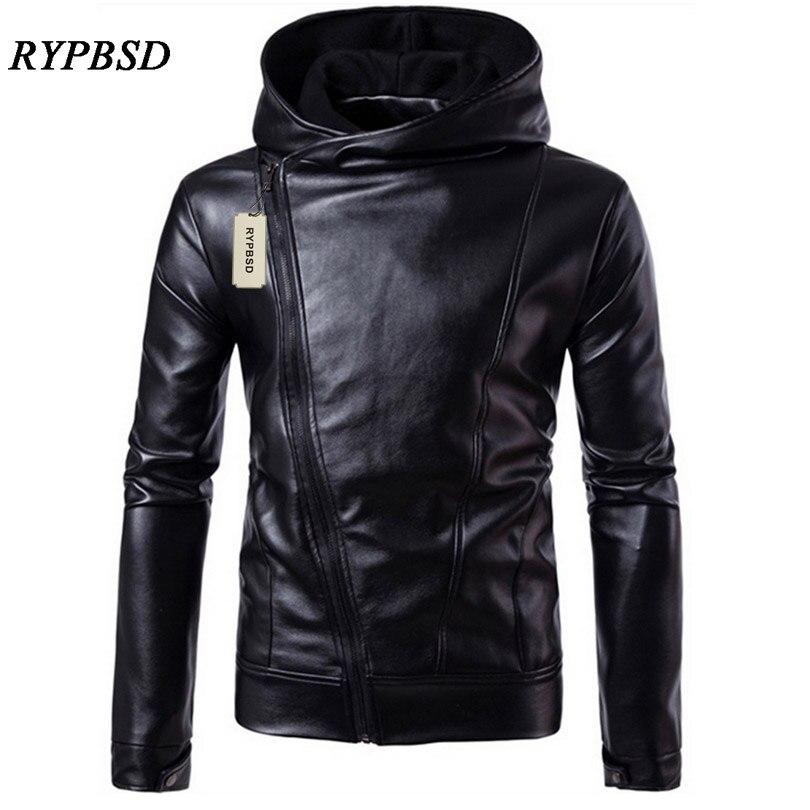 PU Leather Jacket Black Men Leather Jacket Hooded Zipper Men Coat Long Sleeve Turtleneck Faux Leather Jacket New 2019 мужские кожанные куртки с косой молнией