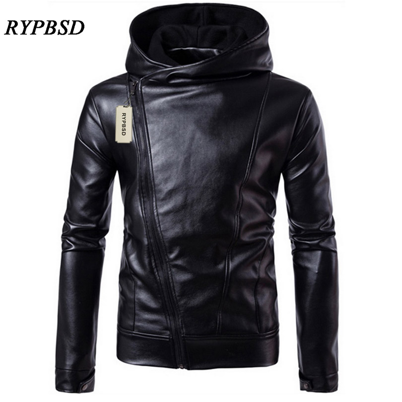 PU Leather Jacket Black Men Leather Jacket Hooded Zipper Men Coat Long Sleeve Turtleneck Faux Leather Jacket New 2019