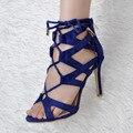 Mulheres Sapatos de Verão Sandálias Da Moda Sandálias Peep Toe Sapatos De Salto Alto Azul com Lace-Up EU34-43 Grandes Sapatos Tamanho Das Mulheres
