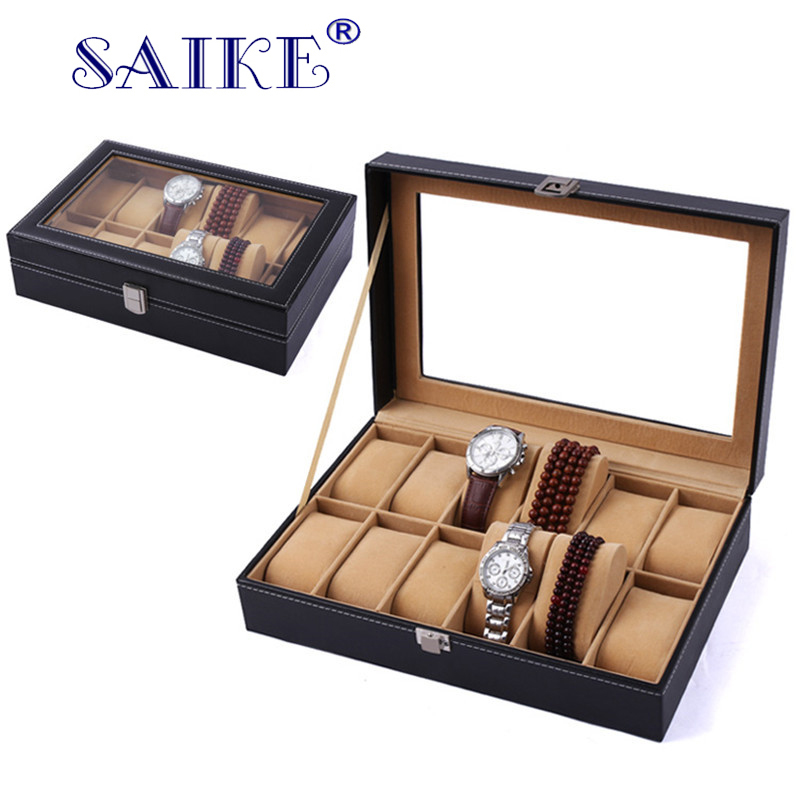 SAIKE Watch Storage Box PU Leather Black Watch Case Brown Organizer Box Holder for Luxury Jewelry Watch Display Collection spark storage bag portable carrying case storage box for spark drone accessories can put remote control battery and other parts