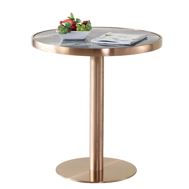 Brass gold plated brushed tea table marble stainless steel reception desk bar table modern side coffee table