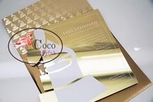 luxury gold mirror acrylic wedding invitation card business invitation with envelope
