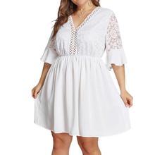 цена на Women Large Size Beach Style A-line Solid Half Sleeve Lace Back Above Knee Mini Dress Plus Size Pure White V-neck Spring Dresses