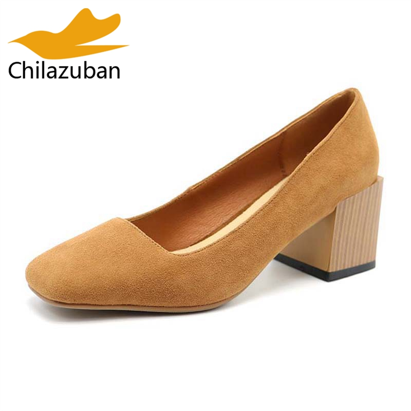 Chilazuban Ladies Fashion Real Leather Thick High Heel Office Pumps Women Square Toe Slip On Shoes Women Footwear Size 34-39 amourplato women s ladies handmade fashion big large size thick block heel closed toe high heel party office pumps chunky shoes