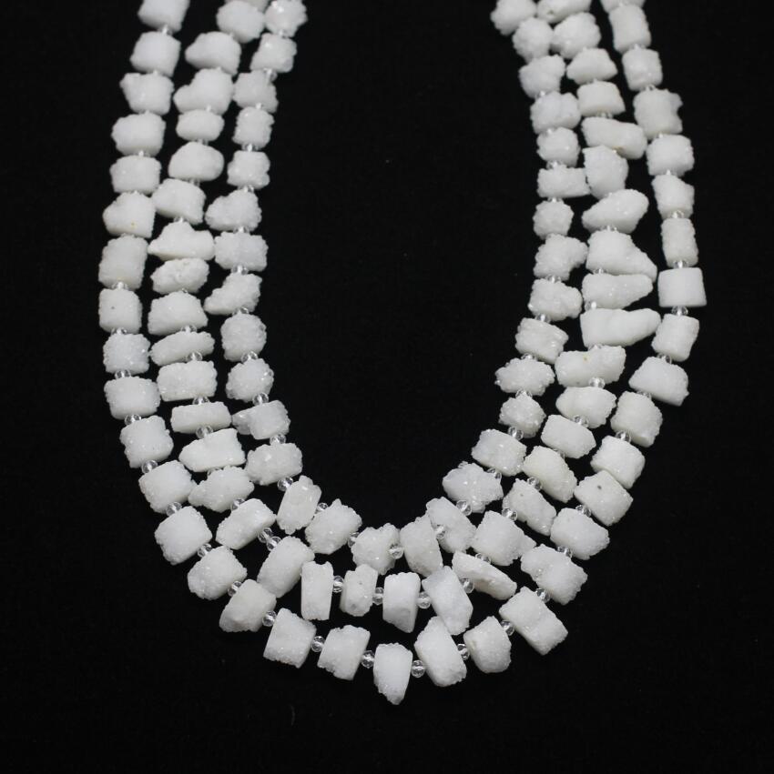 Perles de tournesol blanc brut Druzy Achate, fournitures de bijoux en vrac géode Drusy Nugget naturel, fabrication de boucles d'oreilles de qualité AAA