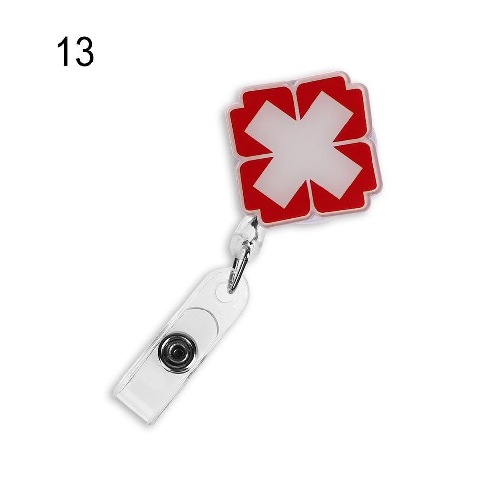 1 шт. Милая мультяшная мини-выдвижная катушка для бейджа медсестры Lanyards ID Имя карты держатель для бейджа клип студенческий значок медсестры держатель офис S - Цвет: 13