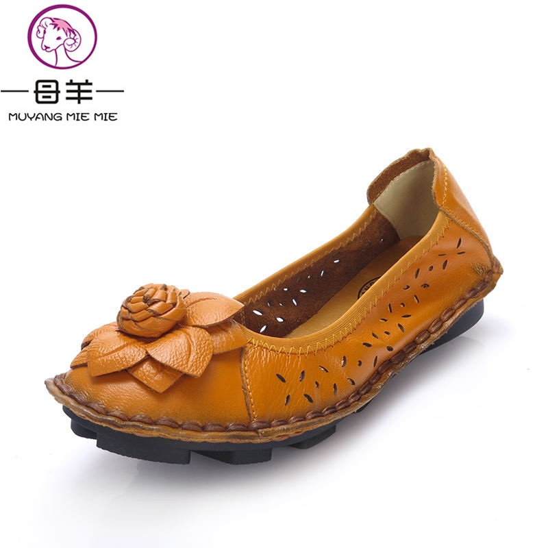2017 Summer Shoes Woman Casual Handmade Flower Flats Women Genuine Leather flat Sandals Super soft and comfortable Women Sandals women flats casual shoes 2017 summer sandals pointed toe fashion shallow rivet flower flat shoes woman loafers cool comfortable