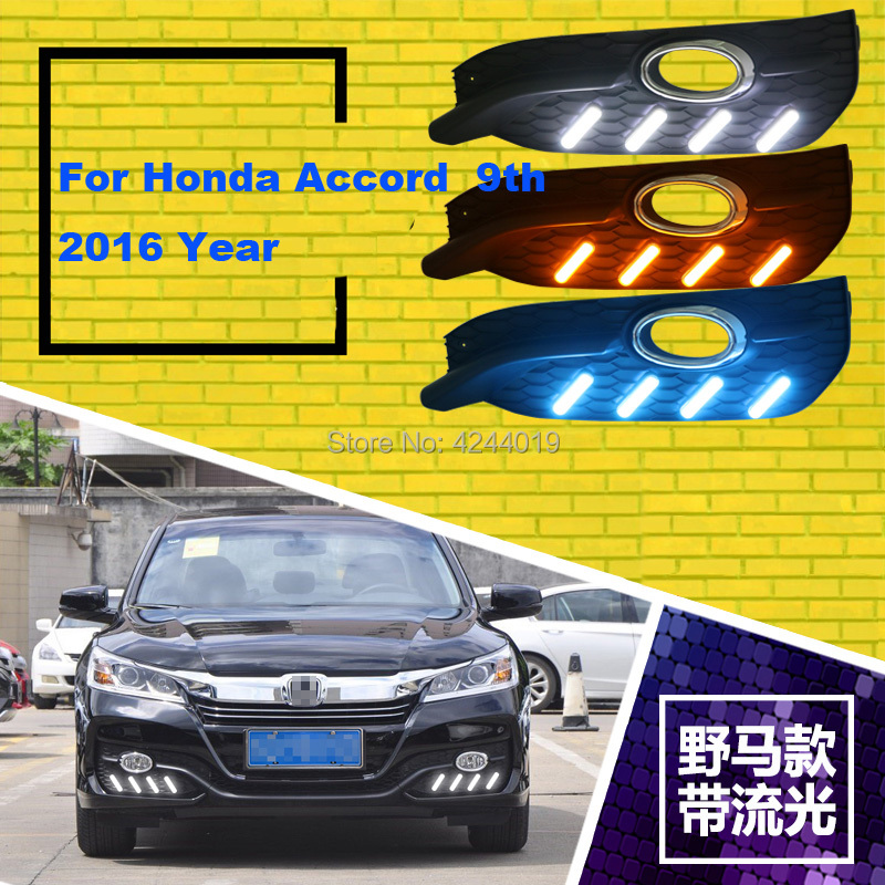 Fits 2016 Honda Accord Day Light Fog Lights Fog Lamps LED Driving Light DRL Daytime Running Lights Yellow Turn Signal tcart drl headlights with turn signal lights for ford mondeo 2013 2016 daytime running light auto led day driving fog lamp