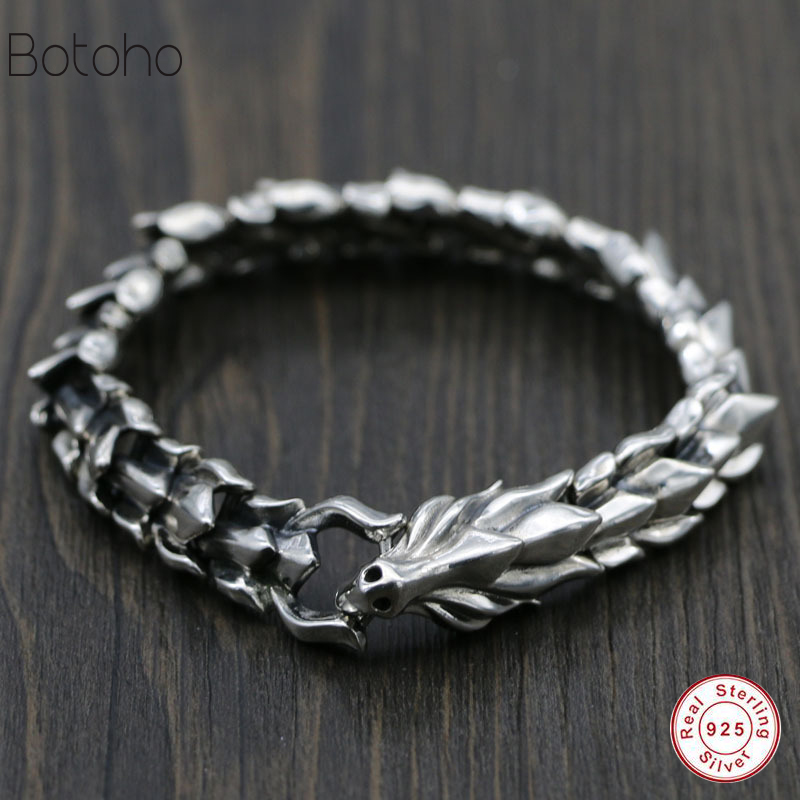 100% 925 Sterling Silver Men Bracelet Thick Dragon Pattern Retro Punk Rock Style Bracelet Men's High Jewelry Father's Day Gift 925 sterling silver couple retro dragon bracelet