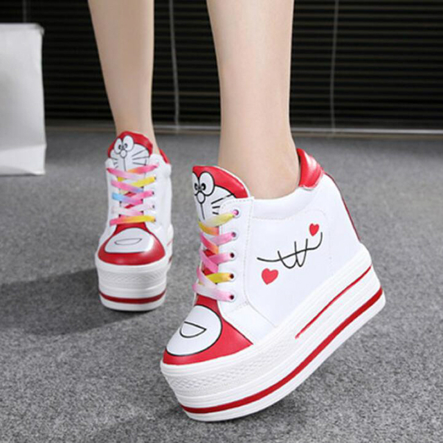 Women Sneakers 2020 Spring Autumn High Heels Ladies Casual Shoes Women Wedges Platform Shoes Female Thick Bottom Trainers  2